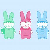 stock photo of pacifier  - Vector Illustration of  three baby bunnies with milk bottles and pacifiers - JPG
