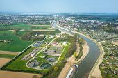 foto of sewage  - Aerial view of the sewage treatment plant - JPG