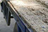 image of dumper  - dirt on the old blue truck dumper for construction - JPG