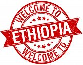 stock photo of ethiopia  - welcome to Ethiopia red round ribbon stamp - JPG