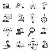 picture of collaboration  - Business icon black set with businessmen collaboration meeting office work isolated vector illustration - JPG