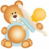 picture of baby bear  - Scalable vectorial image representing a teddy bear boy holding blue baby pacifier - JPG