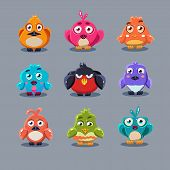 picture of angry bird  - Funny cartoon birds vector illustration set modern style - JPG