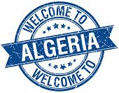 image of algeria  - welcome to Algeria blue round ribbon stamp - JPG