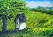 pic of linden-tree  - Chapel in nature under the linden tree color oil painting. Beauty mountains and lake in the background. And beautiful blue cloud and sky - JPG