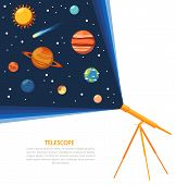 picture of earth mars jupiter saturn uranus  - Telescope with solar system comets and stars concept poster flat vector illustration - JPG