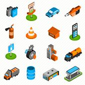 foto of gasoline station  - Gas diesel station isometric icons collection of fuel  pump nozzle and fire extinguisher abstract isolated vector illustration - JPG