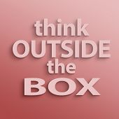 pic of thinking outside box  - text on the wall or paper - JPG