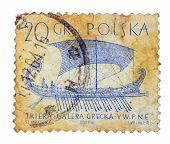 Polska - Circa 1950S: Vintage Polish Postage Stamp With Ship (grecka Galera), Circa 1950S