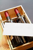 Wood Gift Box With Two Wine Bottles And Blank Card (Vertical)