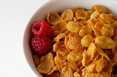 Cereal Bowl With Raspberries Closeup