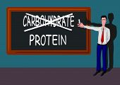man with protein-carbohydrate concept