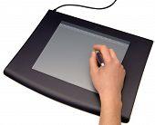 foto of dtp  - Hand drawing on a graphic tablet isolated over white - JPG
