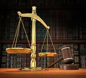 stock photo of scale  - scales of justice and gavel on desk with dark background that allows for copyspace - JPG