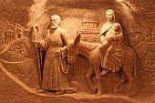 Salt Decorations In Wieliczka Salt Mine, Krakow. It Was One Of The World's Oldest Operating Salt Min