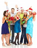 Happy funny people. Christmas. Party. Isolated over white background