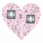 Herz-Platine, online-Liebe