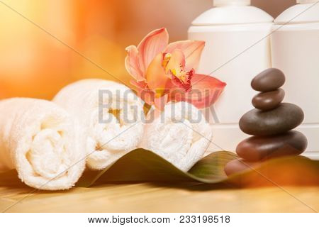 Spa background White towels on