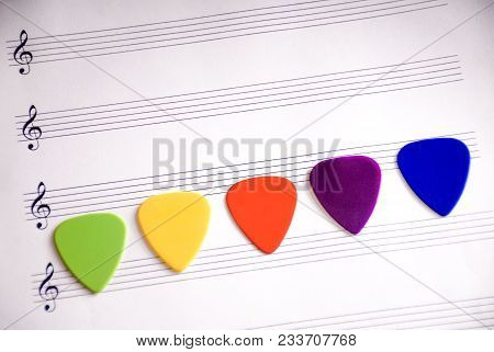 Colorful Guitar Picks On A
