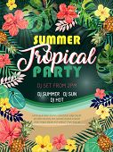 Summer Tropical Party Design Poster Or Flyer On Abstract Background. Night Club Event Typography. poster