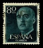 SPAIN-CIRCA 1955:A stamp printed in SPAIN shows image of Francisco Paulino Hermenegildo Teodulo Fran