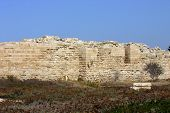 Fragment Of The Wall Of The Ancient Roman Theater In Caesarea, Israel poster
