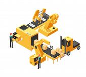 Industrial Manufacturing Conveyor Line With Packaging Equipment And Factory Workers. 3d Isometric Ve poster
