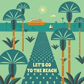 Time To Travel Poster. Tourism Trip Symbol Sign Retro Color. Ocean Liner In Tropical Bay. Vacation S poster