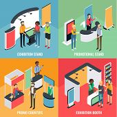 Promotion Equipment Vector Flat Isometric Poster, Banner Set. Exhibition Stand, Promotional Stand, P poster