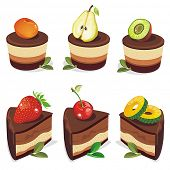Set of appetizing cakes with berries and stuffingâ??s. Abstract web symbols.