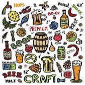 Craft Beer Hand Drawn Elements Set. Outline Colorful Icons Of Craft Beer Things. Craft Beer Info Gra poster