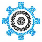 Cogwheel Mosaic Of Circle Dots In Various Sizes And Color Shades. Round Dots Are Organized Into Cogw poster