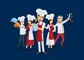Professional Kitchen Staff Recruitment Concept. Cute Young Chef Team In Red Cooking Uniform And Hat. poster