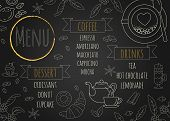 Coffee Restaurant Brochure Vector, Coffee Shop Menu Design. Modern Cafe Template With Coffee And Tea poster