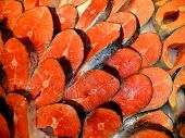 Постер, плакат: Salmon Red Fish Steak At Market Raw Fresh Salmon Steak As Pattern Background Large Pile Of Salmon