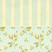 Retro background in shabby chic style with label and old paper texture with rose flower. Mock up tem poster