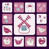 Set Of Icons In A Flat Style, Silhouettes Of Birds, Chicks, Swallows, Birds, Butterflies, Sunflowers poster