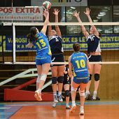 KAPOSVAR, HUNGARY - APRIL 24: Gabriella Kondor (blue 13) in action at the Hungarian NB I. League wom