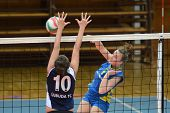 KAPOSVAR, HUNGARY - APRIL 24: Zsanett Pinter (R) in action at the Hungarian NB I. League woman volle