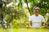 Senior Man In Lotus Pose Sitting On Green Grass In A Park. Concept Of Calm And Meditation. poster