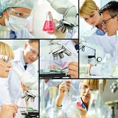 Collage of clinicians studying new substance in laboratory poster