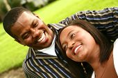 African American Couple Laughing Outdoor