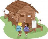 Illustration of Kids Heading to a Log Cabin