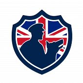 Icon Retro Style Illustration Of A British Police Canine Team Showing A Policeman And Police Dog Sil poster