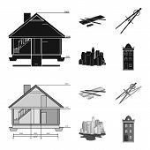 Drawing Accessories, Metropolis, House Model. Architecture Set Collection Icons In Black, Monochrom  poster