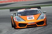 SEPANG - JUNE 17: Billy YS Fung in a Lamborghini LP560 GT3 takes to the tracks of the Sepang Interna