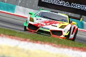 SEPANG - JUNE 17: David TS Lai of Team Clearwater Racing in a Lamborghini LP560 takes to the tracks