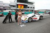 SEPANG - JUNE 19: The Team MACH Syaken RD320R grid girl poses with car at the start grid of Sepang International Circuit during the Japan SUPER GT Round 3 race on June 19, 2011 in Sepang, Malaysia.