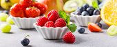 Fresh Berries With Assorted Fruits. Colorful Clean And Healthy Eating Concept. Detox Food. Banner. poster