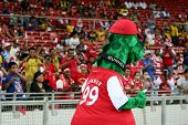 BUKIT JALIL, MALAYSIA - JULY 13: Arsenal's mascot leads the cheer at the Arsenal vs Malaysia game on